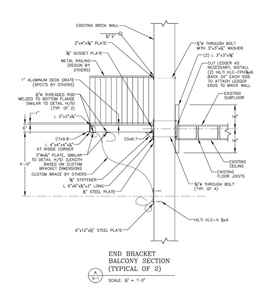 Apartment Balcony Member Sizes Connections And Detailing For Steel Fabrication